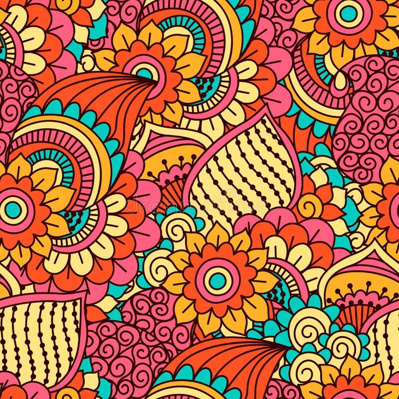 Ręka rysujący bezszwowy wzór z kwiecistymi elementami ilustracji