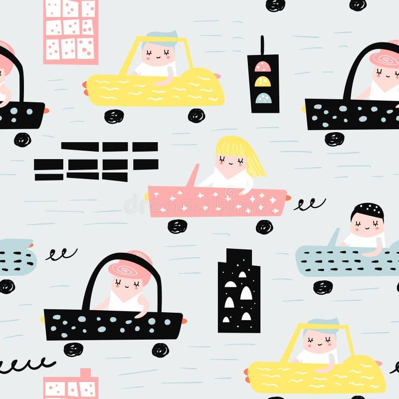 Ręka Rysujący Bezszwowy wzór z samochodami Kreatywnie Dziecięcy tło z Ślicznym miasto transportem dla tkaniny, tkanina ilustracja wektor