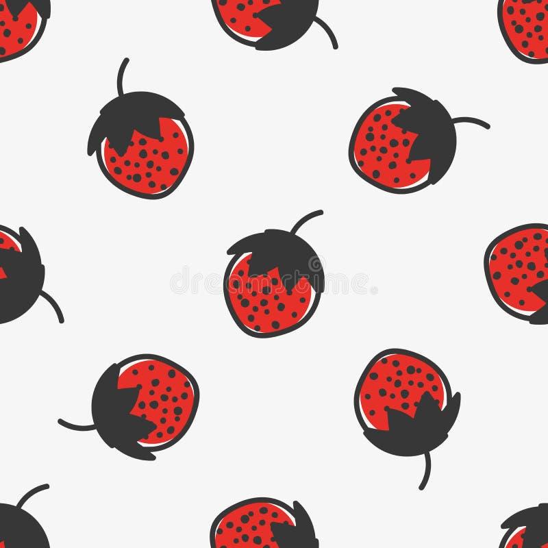 Ręka rysujący bezszwowy wzór z truskawkową owoc royalty ilustracja