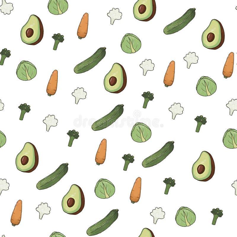 Ręka rysujący bezszwowy wzór z warzywami ilustracja wektor