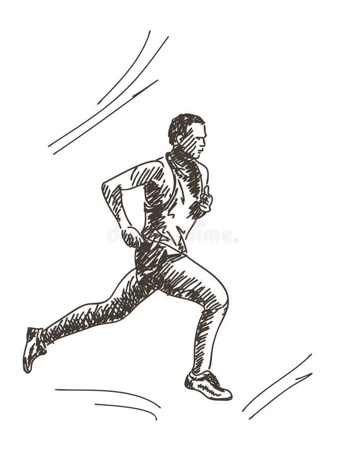 Ręka rysujący biegacz ilustracja wektor