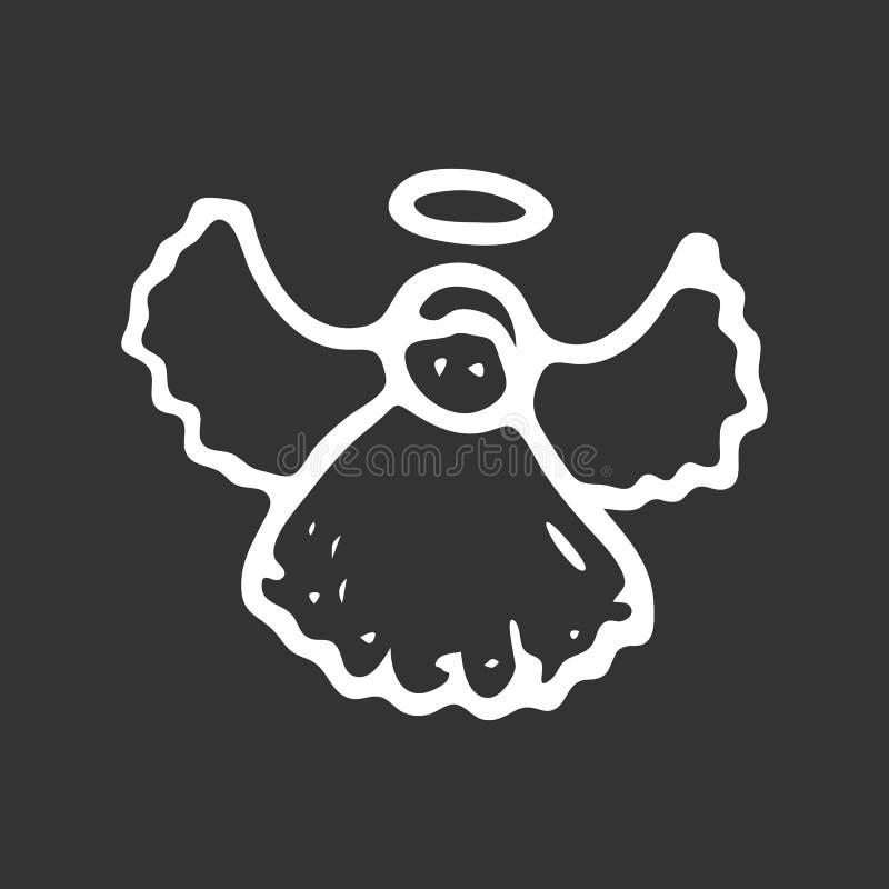 Ręka Rysujący boże narodzenie anioła doodle Nakreślenie zimy ikona Decoratio ilustracja wektor