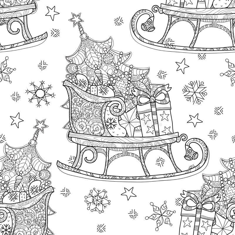Ręka rysujący bożego narodzenia doodle nakreślenia saneczki ilustracji