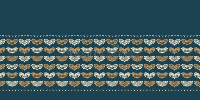 Ręka rysujący Bożenarodzeniowy ulistnienia serca granicy wzór Stylizowany miłość motywu złoto na zielonym tle Zima sztandaru ślub ilustracja wektor