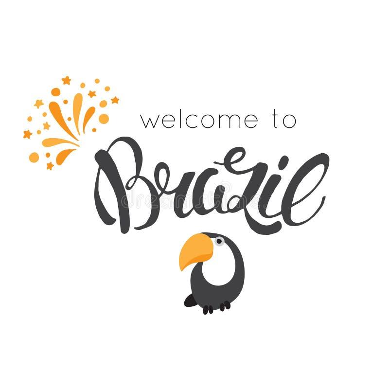 Ręka rysujący Brazylia literowanie ilustracji