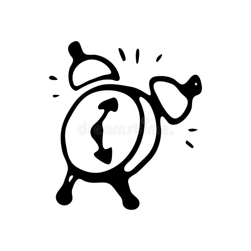 Ręka rysujący budzika doodle Nakreślenie Z powrotem szkoła, ikona odszyfrowywa royalty ilustracja