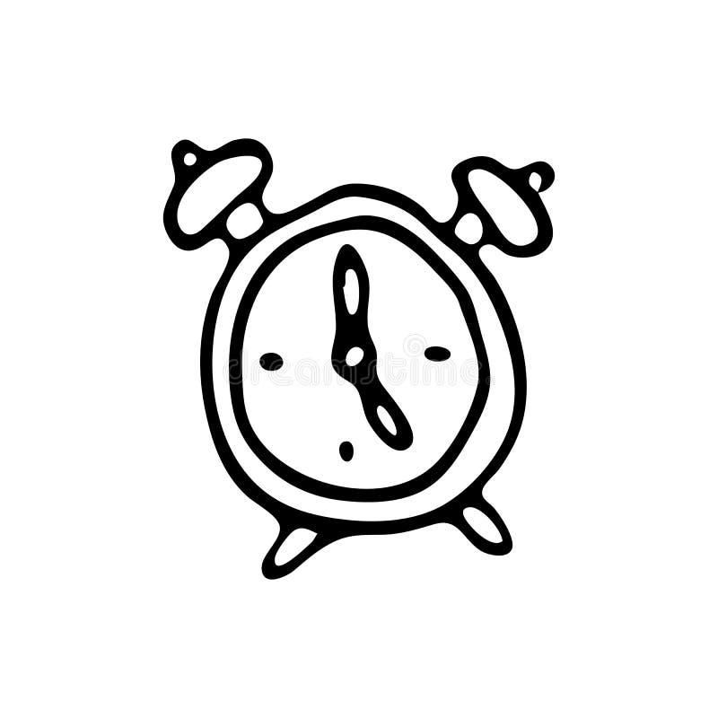 Ręka rysujący budzika doodle Nakreślenie Z powrotem szkoła, ikona odszyfrowywa ilustracji