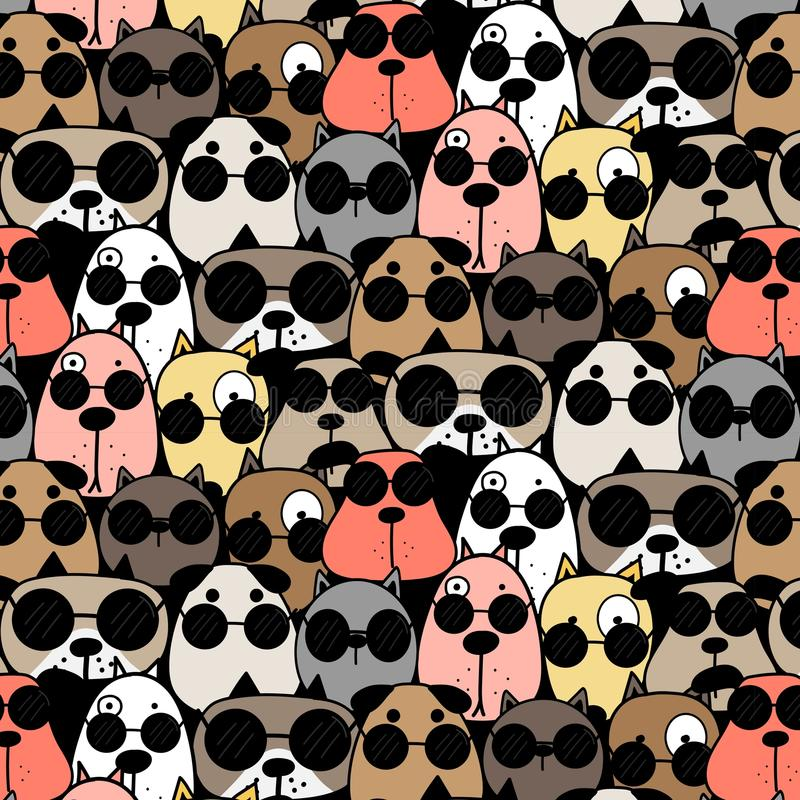 Ręka Rysujący Chłodno psów Deseniowy tło ilustracja wektor