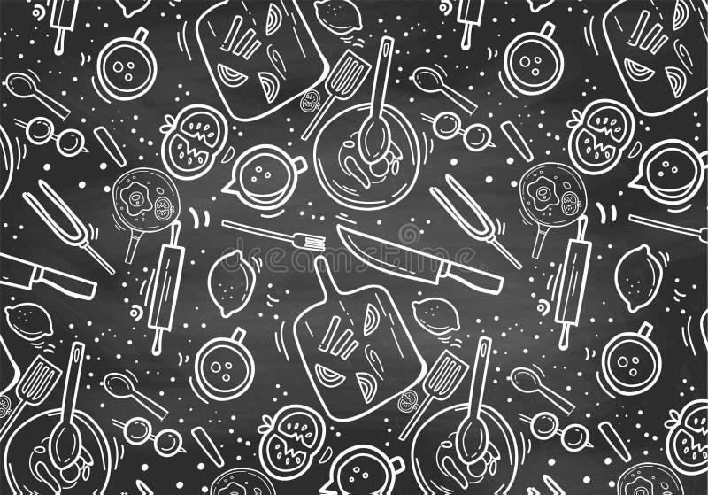 Ręka Rysujący Chalkboard kucharstwa wzór ilustracji