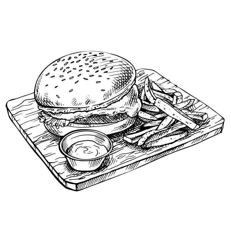 Ręka rysujący cheeseburger na drewnie Kreśli Dużego humburger z cutlets, ser, pomidory, sałata ilustracja wektor