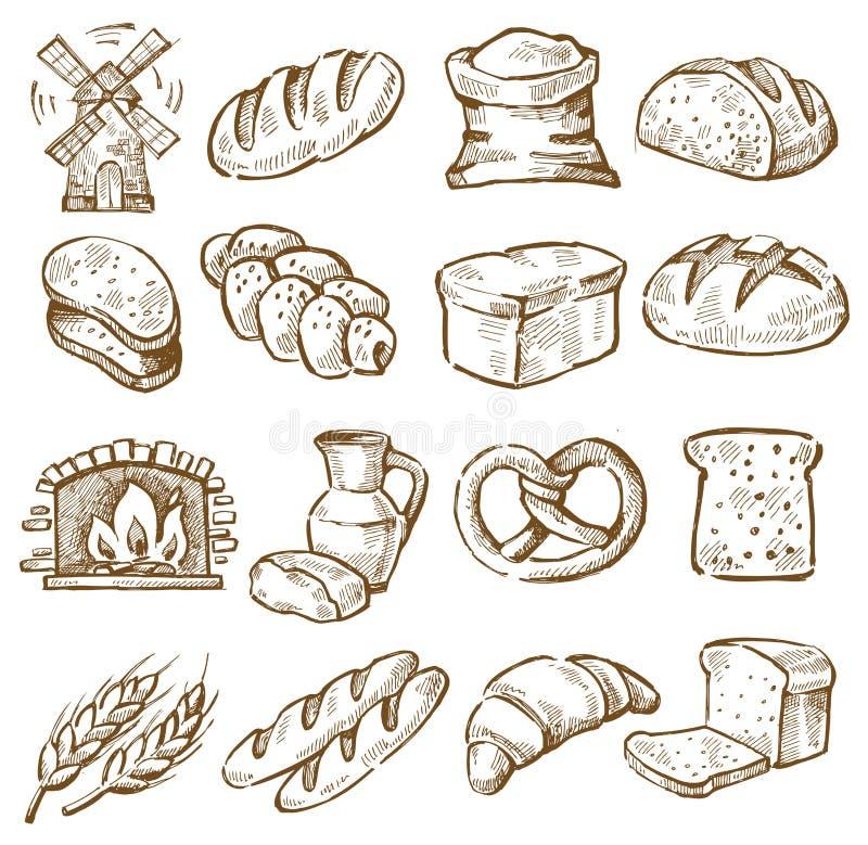Ręka rysujący chleb ilustracja wektor