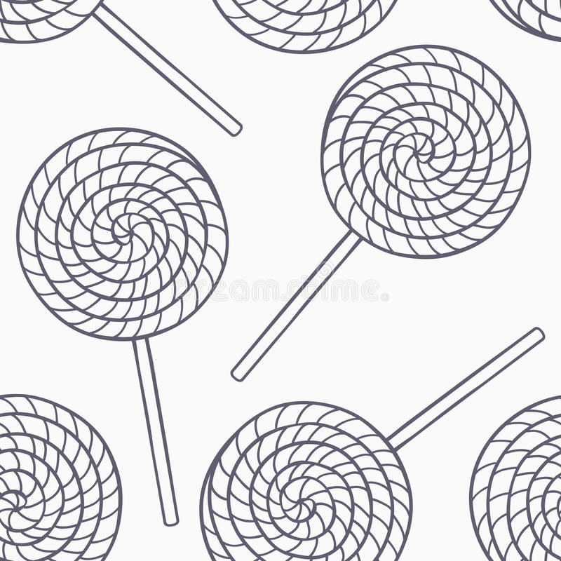 Ręka rysujący cukierki zarysowywają bezszwowego wzór w czarny i biały Doodle jedzenia tło ilustracja wektor