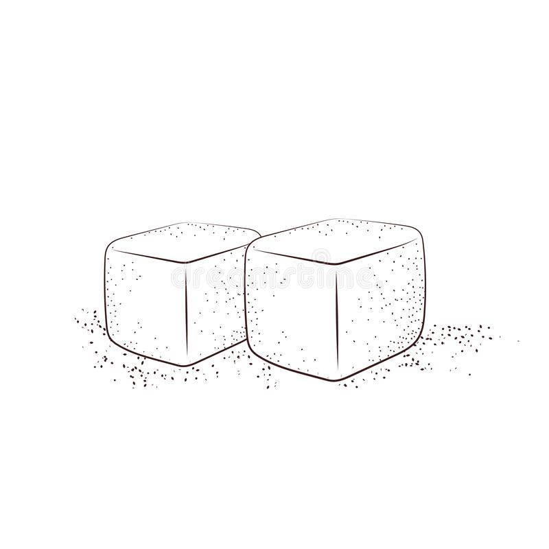 Ręka rysujący cukrowi sześciany Dwa białego cukieru sześcianu odizolowywającego ilustracja wektor
