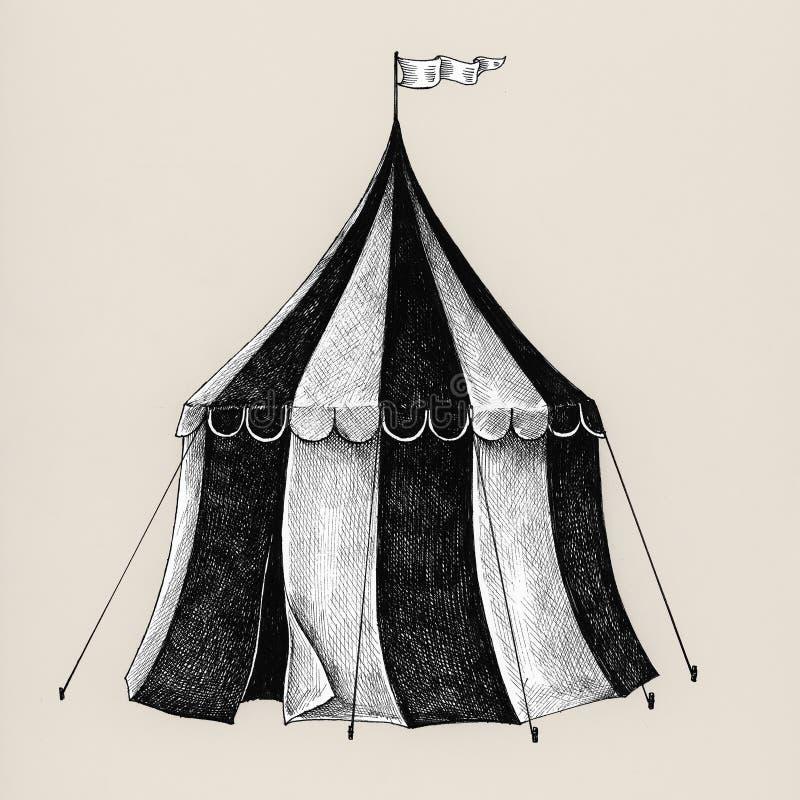 Ręka rysujący cyrkowy namiot odizolowywający na tle royalty ilustracja