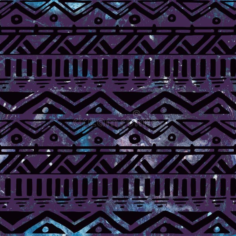 Ręka Rysujący Czarnego azteka Plemienny Bezszwowy tło ilustracja wektor