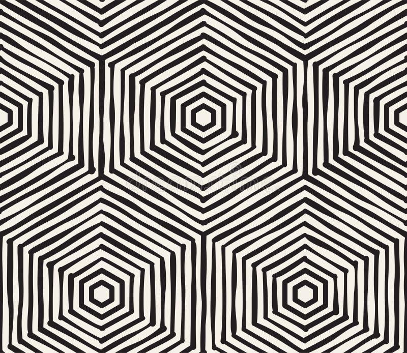 Ręka rysujący czarny i biały atramentu pasiasty bezszwowy wzór Wektorowa grunge kratownicy tekstura Monochromu muśnięcia uderzeń  ilustracja wektor