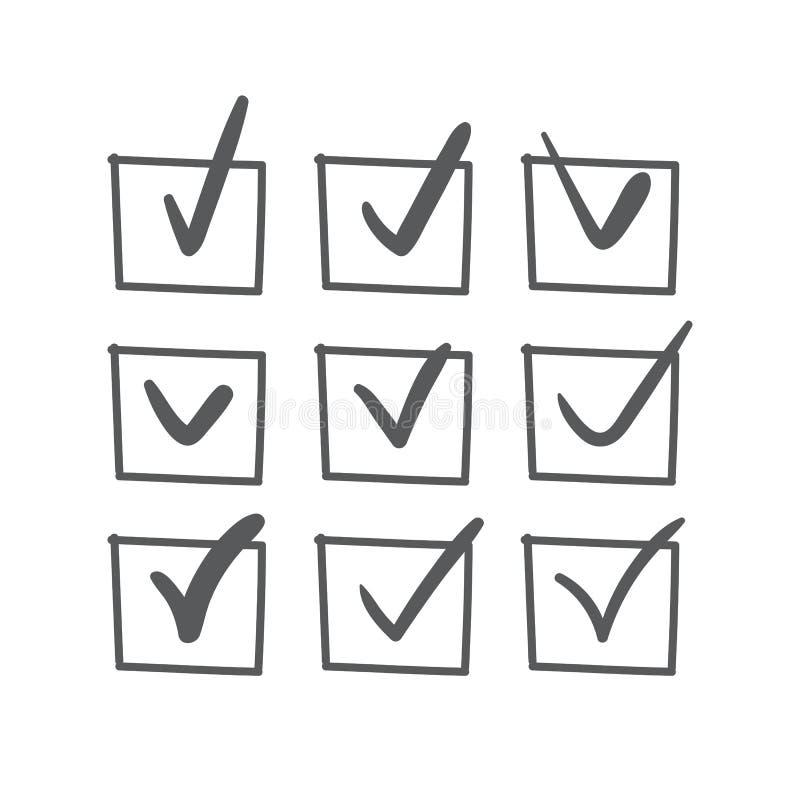 Ręka rysujący czek oceny set ilustracja wektor