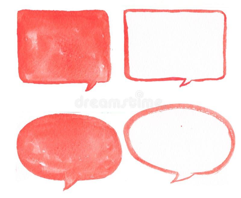Ręka rysujący czerwony bąbel akwareli set, bąbel akwarela czerwony bąbel mowy set royalty ilustracja
