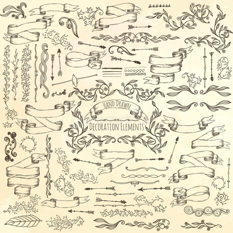 Ręka rysujący dekoracja elementy royalty ilustracja