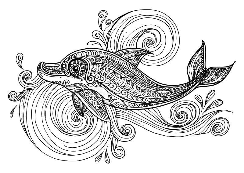 Ręka rysujący delfin z scrolling morza fala ilustracja wektor