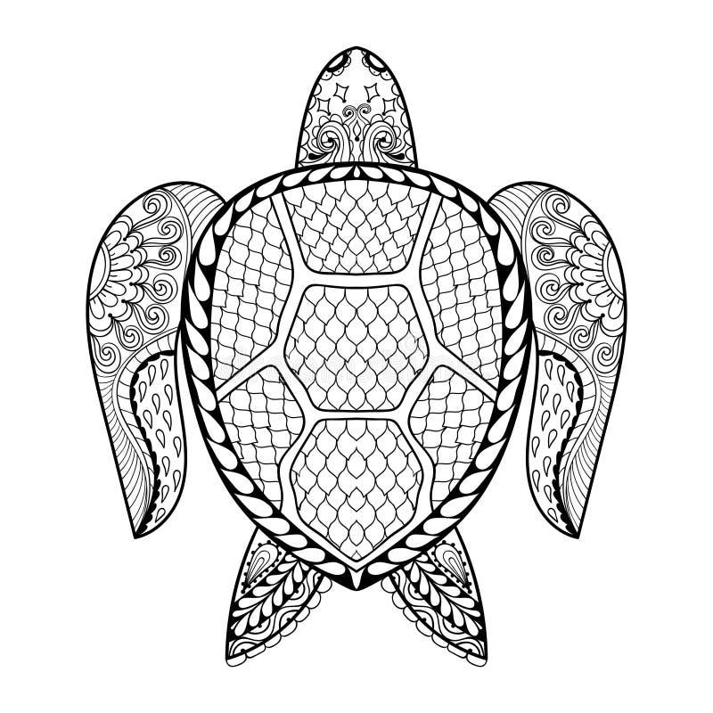Ręka rysujący denny żółw dla dorosłych kolorystyk stron w doodle, zentan ilustracji