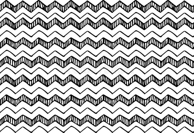 Ręka rysujący deseniowej tekstury wielostrzałowy bezszwowy monochrom, czarny i biały royalty ilustracja