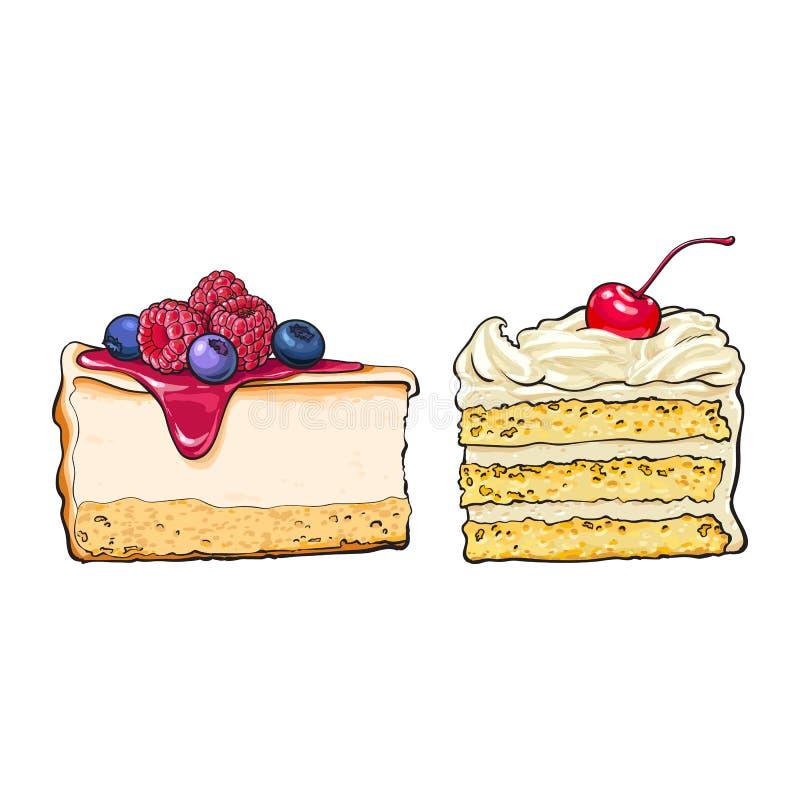Ręka rysujący desery - kawałki cheesecake i płatowata wanilia zasychają royalty ilustracja