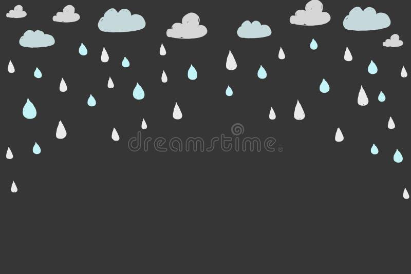 Ręka rysujący deszcz i chmury ilustracji