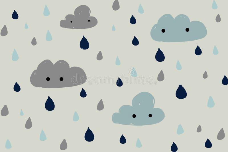 Ręka rysujący deszcz i chmury royalty ilustracja