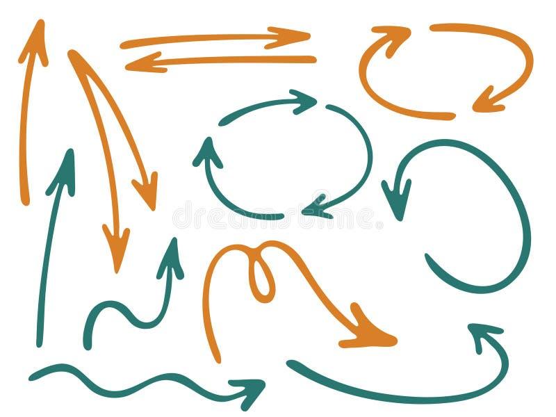 Ręka rysujący diagram ikon wektoru strzałkowaty set ilustracji
