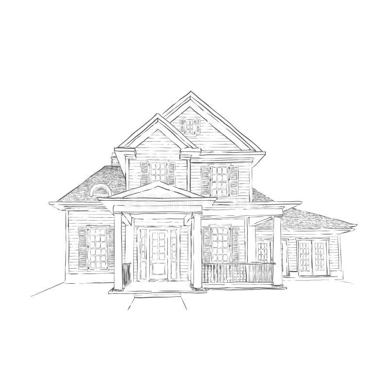 Ręka rysujący dom ilustracji