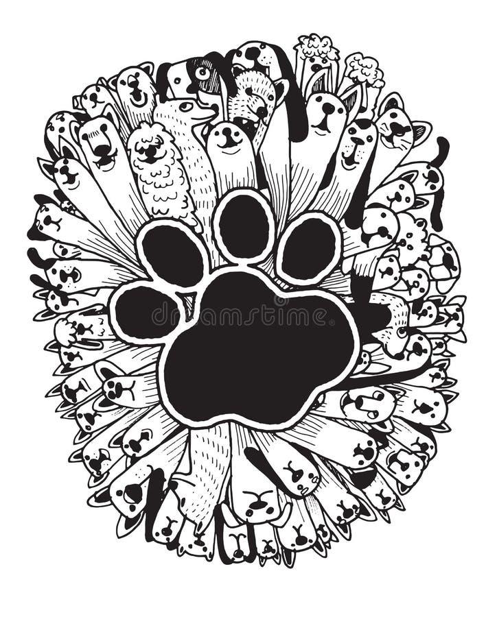 Ręka rysujący doodle Śmieszni psy Ustawiający ilustracja wektor