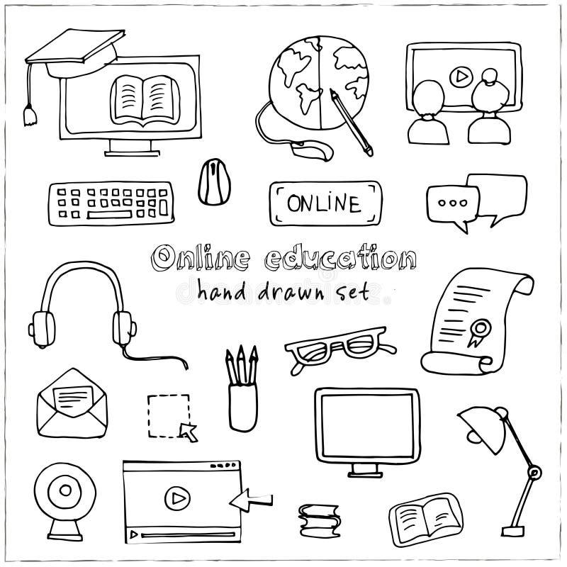 Ręka rysujący doodle edukaci online set ilustracji