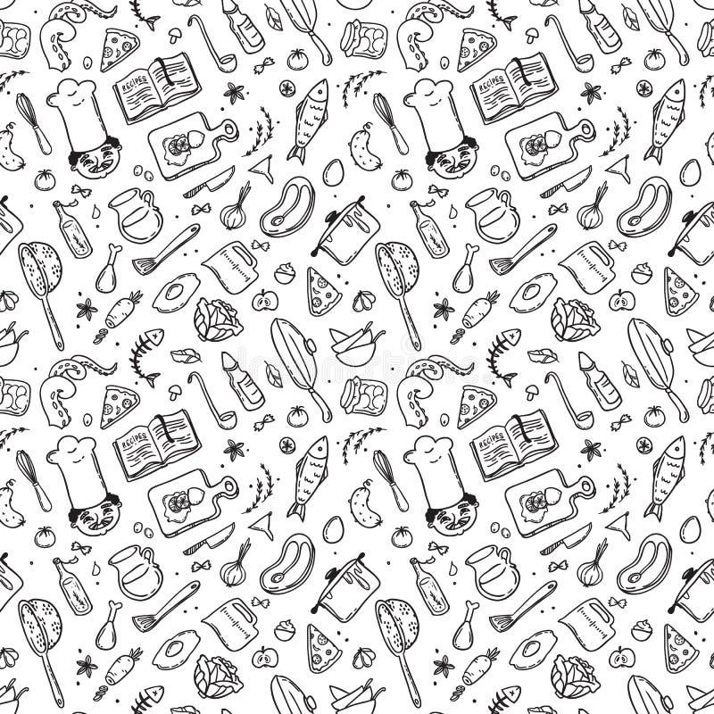 Ręka rysujący doodle karmowy ustawiający z szefem kucharza ilustracji