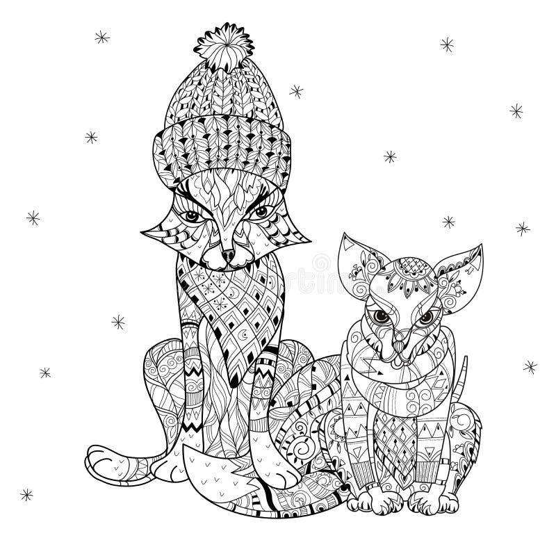 Ręka rysujący doodle konturu chihuahua psa boho nakreślenie royalty ilustracja
