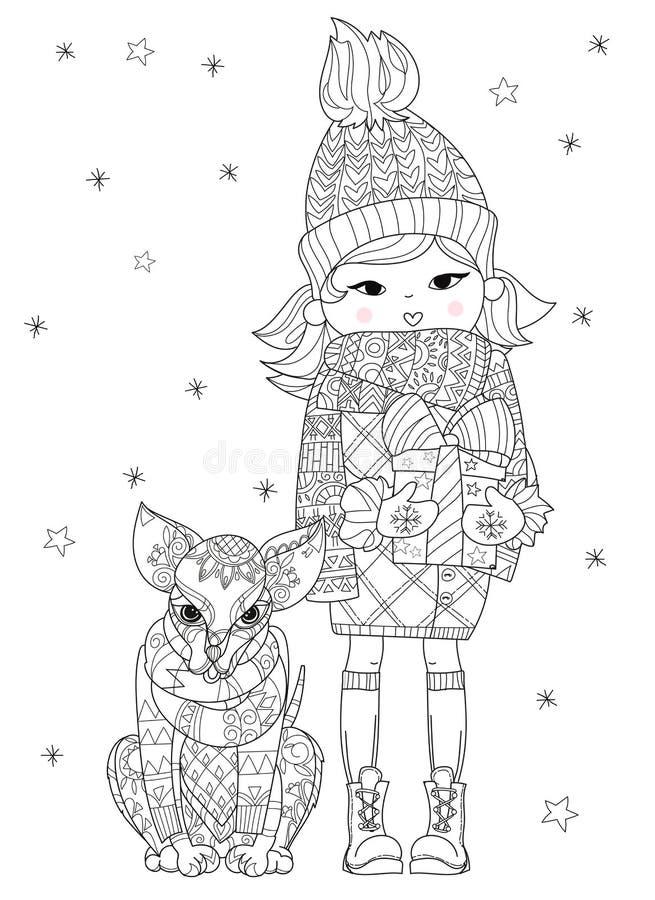Ręka rysujący doodle konturu chihuahua psa boho nakreślenie ilustracji