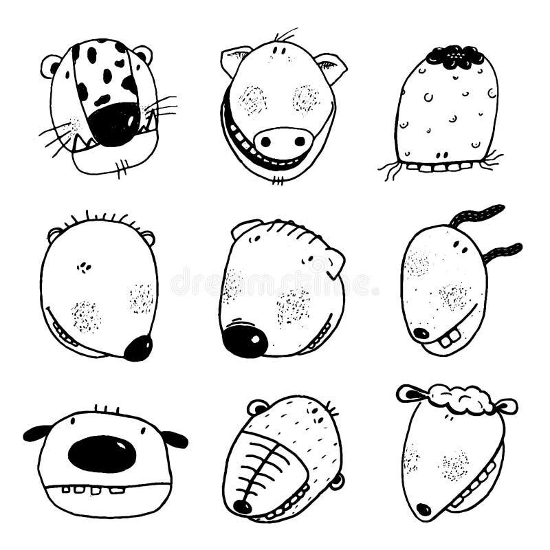 Ręka rysujący Doodle konturu kreskówki zwierzę Przewodzi z ząb zabawy kolekcją ilustracji