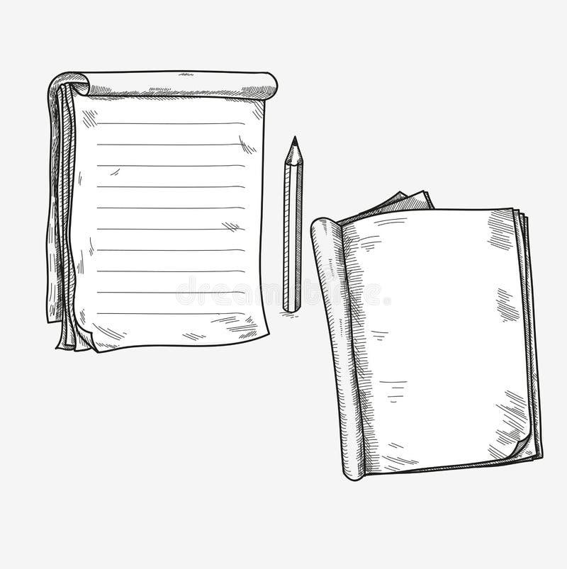 Ręka rysujący doodle nakreślenia otwarty notatnik, jasny strona royalty ilustracja