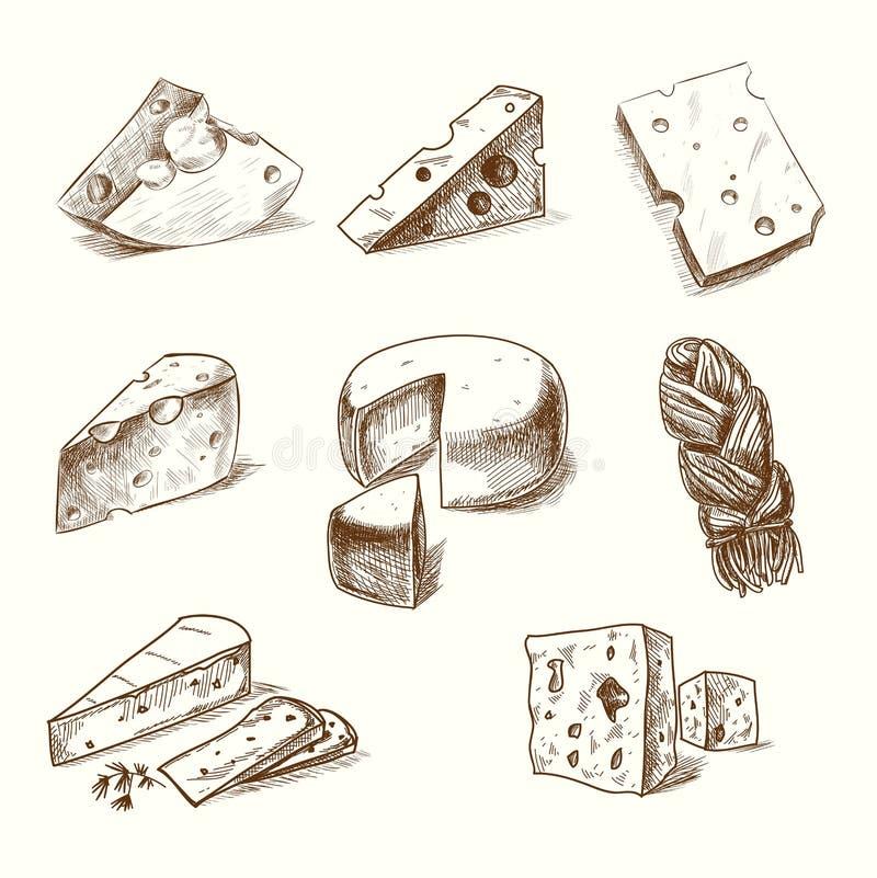 Ręka rysujący doodle nakreślenia ser z różnym royalty ilustracja