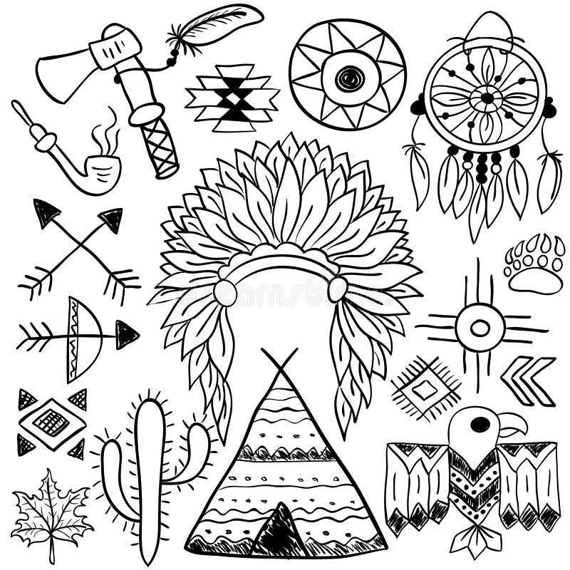 Ręka rysujący doodle rodowitego amerykanina wektorowi symbole ustawiający ilustracja wektor