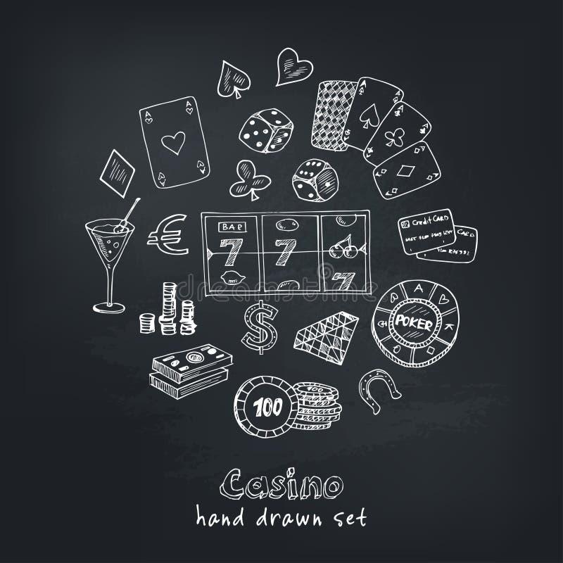 Ręka rysujący doodle set Kasynowe ikony również zwrócić corel ilustracji wektora Kreskówka Uprawia hazard symbole Szkicowi gemowi royalty ilustracja