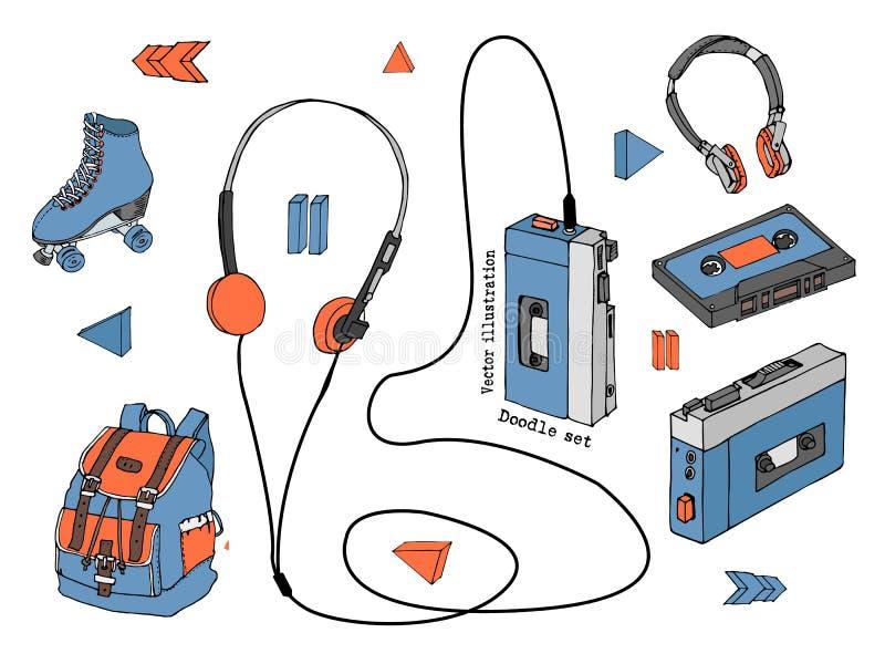 Ręka rysujący doodle set nastoletni elementy odizolowywający na białym tle Retro audio gracz, kaseta, hełmofony, rolkowe łyżwy ilustracji
