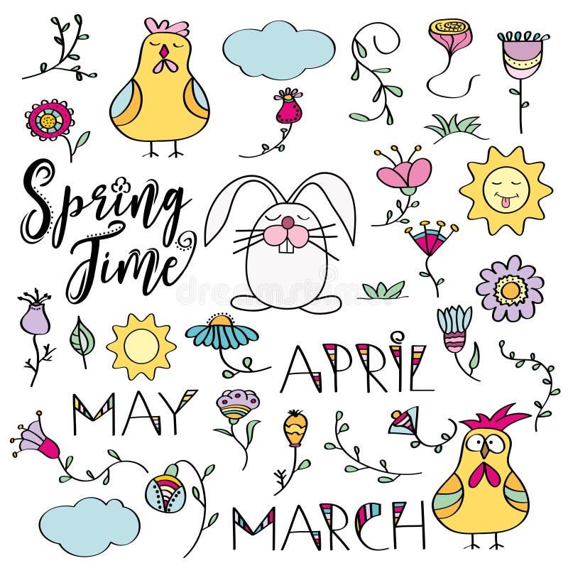 Ręka rysujący doodle set wiosna elementy Kwiaty, królik, chicke royalty ilustracja