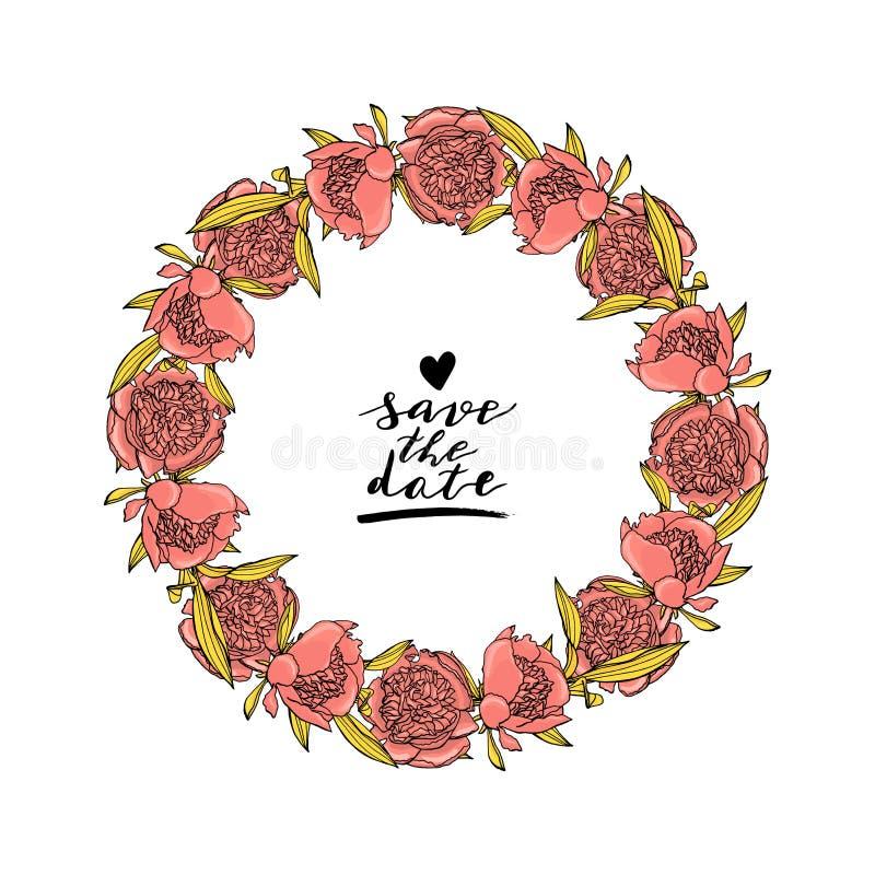 Ręka rysujący doodle stylu menchii peoni kwiatu wianek z obyczajowym ręki literowaniem projekta elementu kwiecisty ilustraci wekt ilustracja wektor