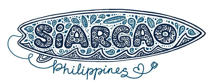 Ręka rysujący doodle stylu surfboard z surfingów elementami przy szyldową Siargao wyspą, Filipiny odizolowywał na białym tle ilustracja wektor