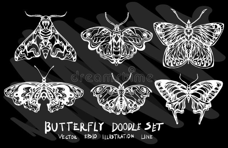 Ręka rysujący doodle wektorowy motyli ustawiający na Chalkboard eps10 ilustracja wektor