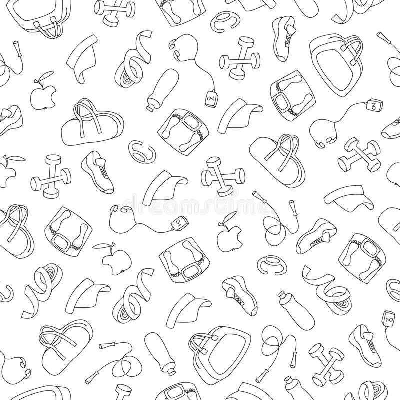 Ręka Rysujący Doodle wzór sprawności fizycznej wyposażenie fotografia stock