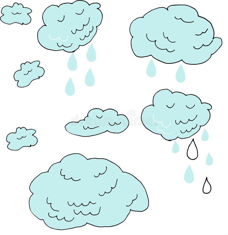 Ręka rysujący Doodle znak chmurnieje i raindrops odizolowywający na białym tle ilustracja prognoza pogody kreskowa sztuka ilustracja wektor