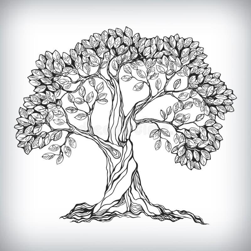 Ręka rysujący drzewny symbol royalty ilustracja