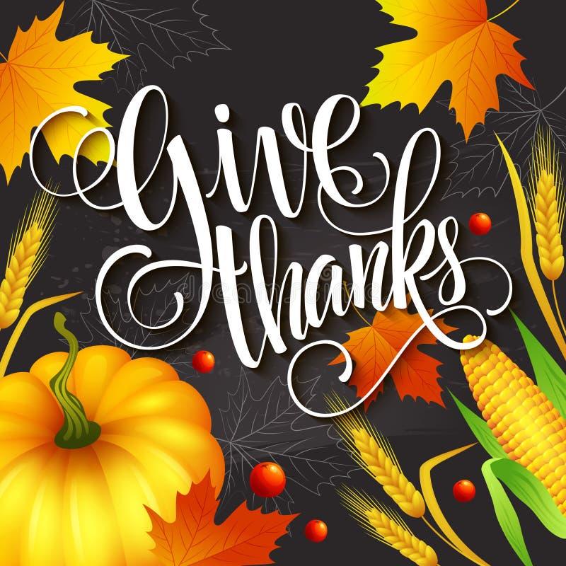 Ręka rysujący dziękczynienia kartka z pozdrowieniami z liśćmi ilustracja wektor